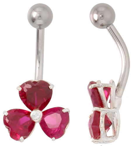 Shamrock Belly Button Ring with Ruby Red Cubic Zirconia on Sterling Silver Setting