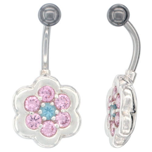 Flower Belly Button Ring with Pink Cubic Zirconia on Sterling Silver Setting