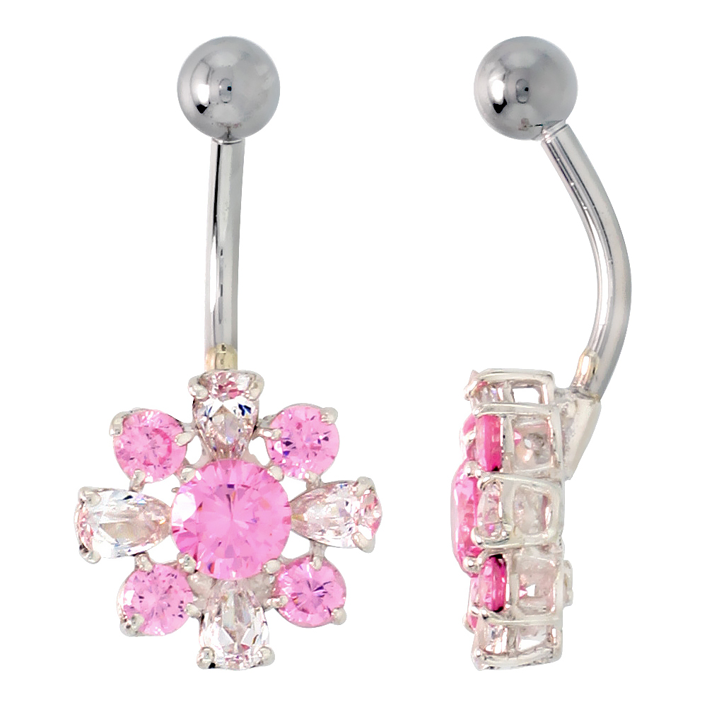 Flower Belly Button Ring with Pink and Clear Cubic Zirconia on Sterling Silver Settings