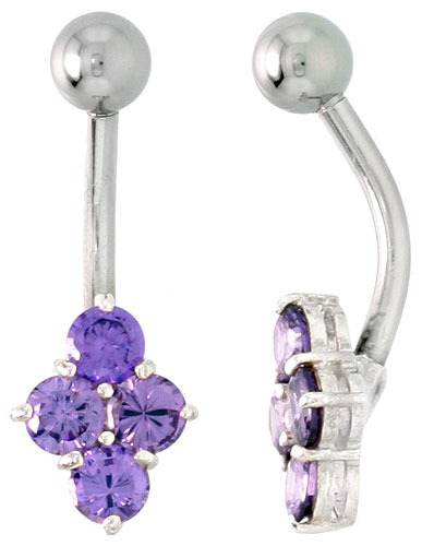 Belly Button Ring with Clustered Amethyst Cubic Zirconia on Sterling Silver Setting Stones