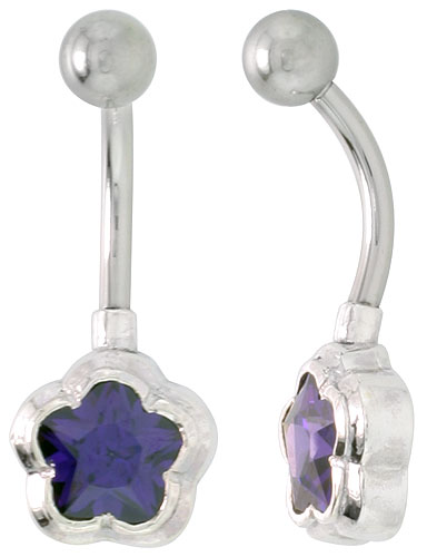 Flower Belly Button Ring with Amethyst Cubic Zirconia on Sterling Silver Setting
