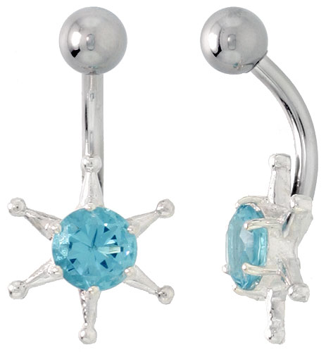 Sun Face Belly Button Ring with Blue Topaz Cubic Zirconia on Sterling Silver Setting