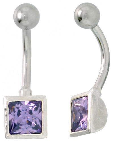 Belly Button Ring with Amethyst Princess Cut Cubic Zirconia on Sterling Silver Setting