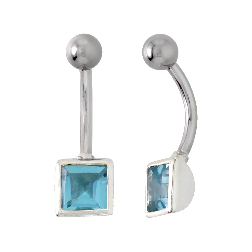 Belly Button Ring with Blue Topaz Princess Cut Cubic Zirconia on Sterling Silver Setting