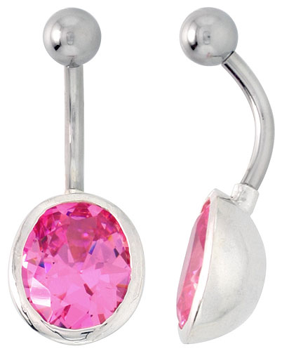 Large Oval Belly Button Ring with Pink Cubic Zirconia on Sterling Silver Setting