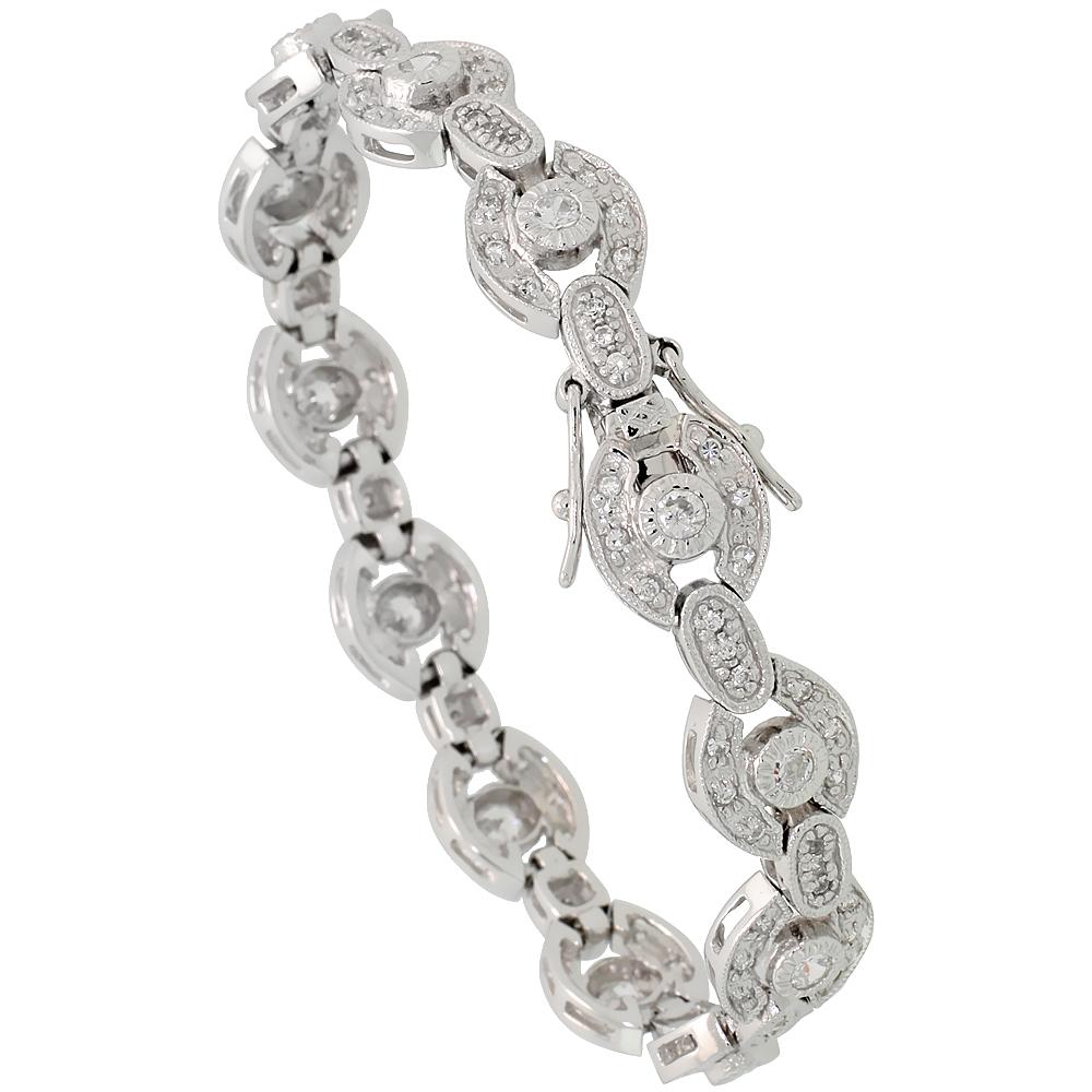 Sterling Silver Vintage Style CZ Bracelet, 3/8 inch wide
