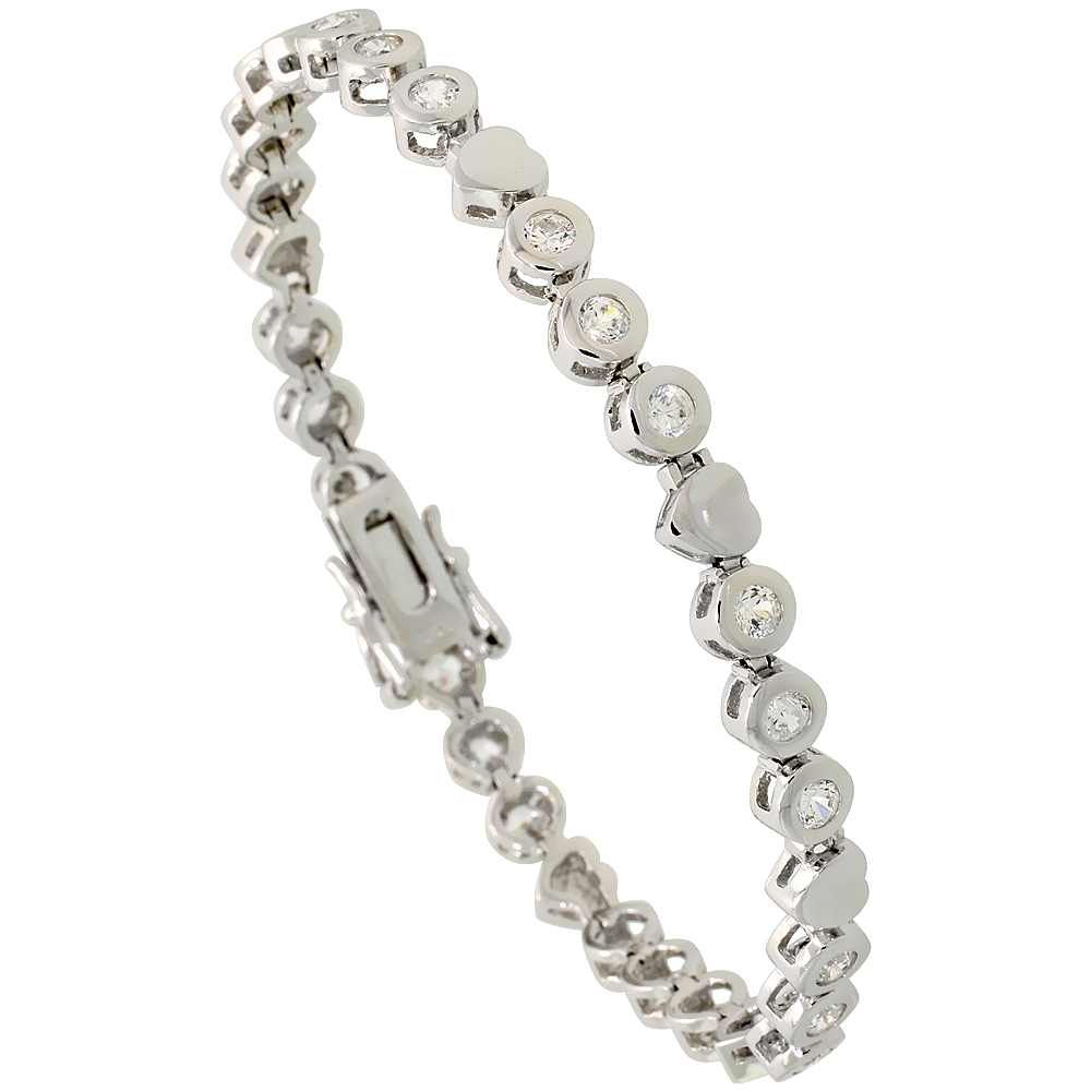 Sterling Silver 1.5 Carat size Bezel Set CZ Tennis Bracelet with Heart Links, 3/16 inch wide