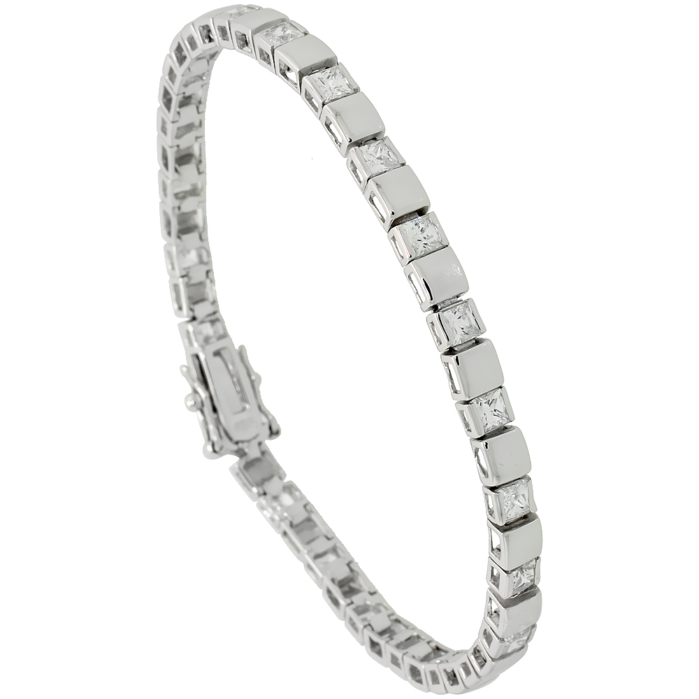 Sterling Silver 4 ct. size Princess CZ Tennis Bracelet/ alternating silver and stone, 5/32 inch wide