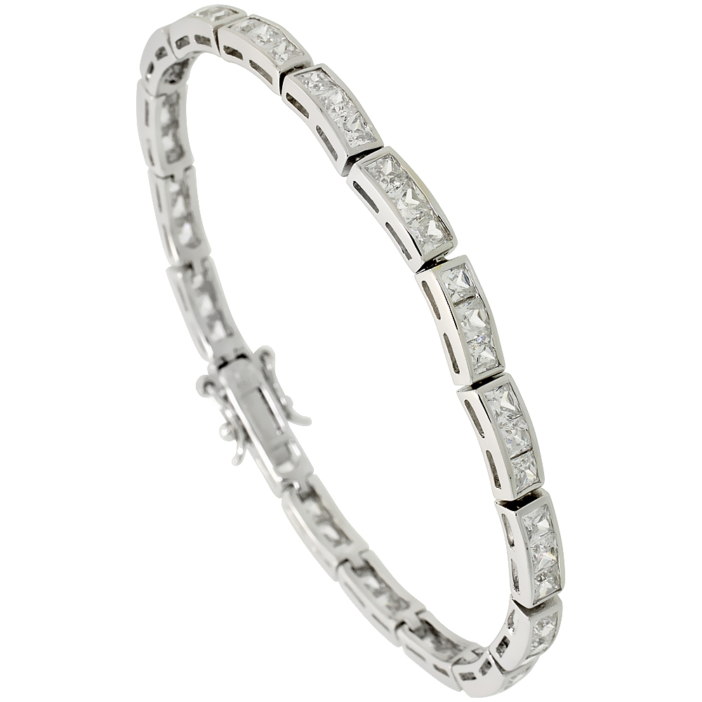 Sterling Silver 8 75 Ct Size 3 Stone Channel Set Cz Bracelet 5 32 Inch Wide