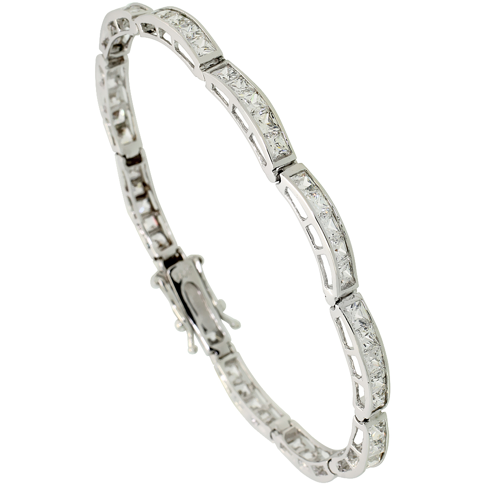 Sterling Silver 9 Carat 5-Stone Channel Set CZ Tennis Bracelet, 5/32 inch wide