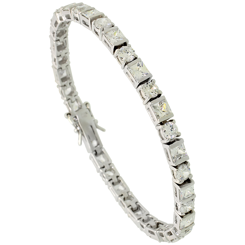 Sterling Silver 11 ct. size alternating Round & Square Cut CZ Tennis Bracelet, 3/16 inch wide