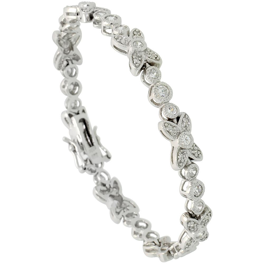 Sterling Silver Vintage Style CZ Butterfly Bracelet, 1/4 inch wide