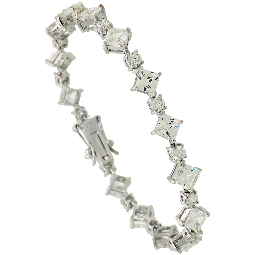 Sterling Silver 8.5 ct. size Alternating Square & Round Cubic Zirconia Bracelet, 5/16 inch wide