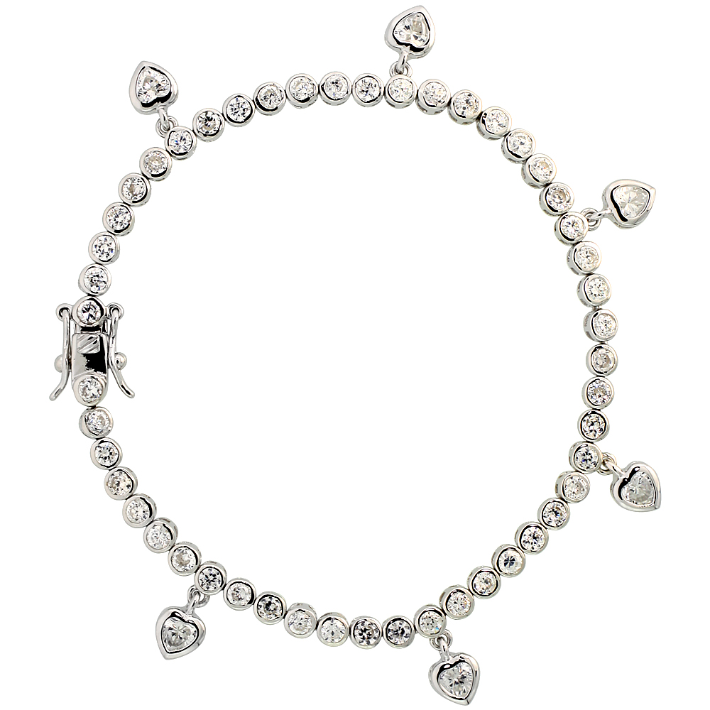 Sterling Silver 4.25 ct. size CZ Tennis Bracelet/Necklace with Dangling Hearts, 1/8 inch wide, 7, 16, 18 inches long