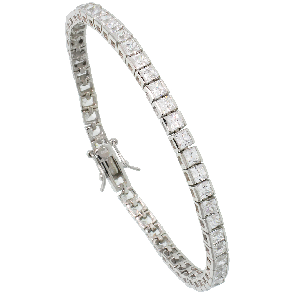 Sterling Silver 9 ct. size Princess Cut CZ Tennis Bracelet, 1/8 inch wide