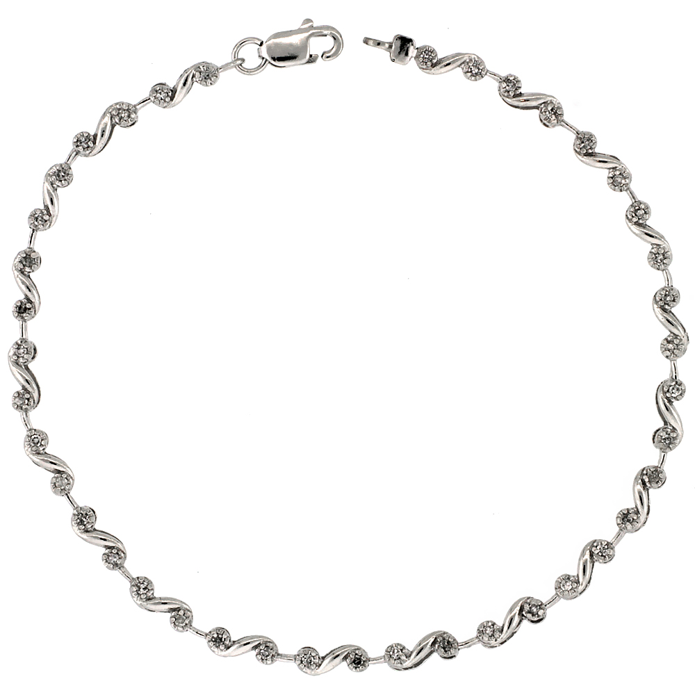 10k White Gold Swirl Diamond Tennis Bracelet 0.10 ct Diamonds, 1/8 inch wide