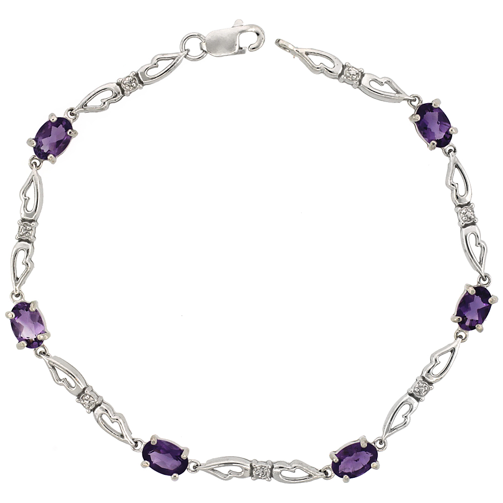 10k White Gold Double Fancy Heart Tennis Bracelet 0.05 ct Diamonds & 3.0 ct Oval Amethyst, 3/16 inch wide