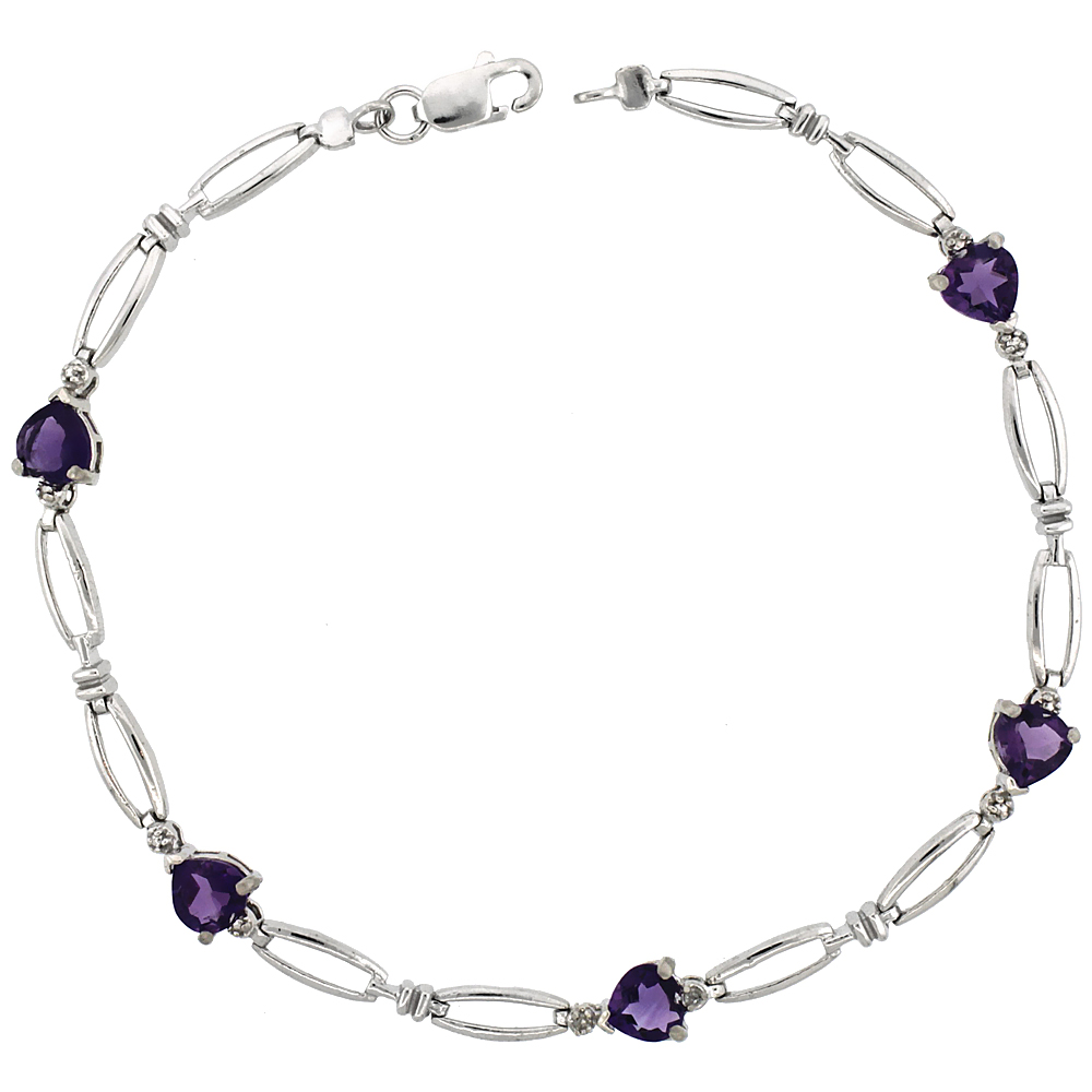 10k White Gold Heart Tennis Bracelet 0.05 ct Diamonds & 2.50 ct Heart Amethyst, 3/16 inch wide