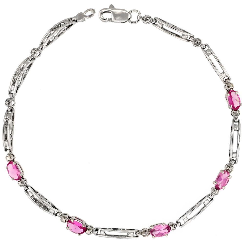 10k White Gold Out Bar Tennis Bracelet 0.05 ct Diamonds & 1.25 ct Oval Pink Topaz, 1/8 inch wide