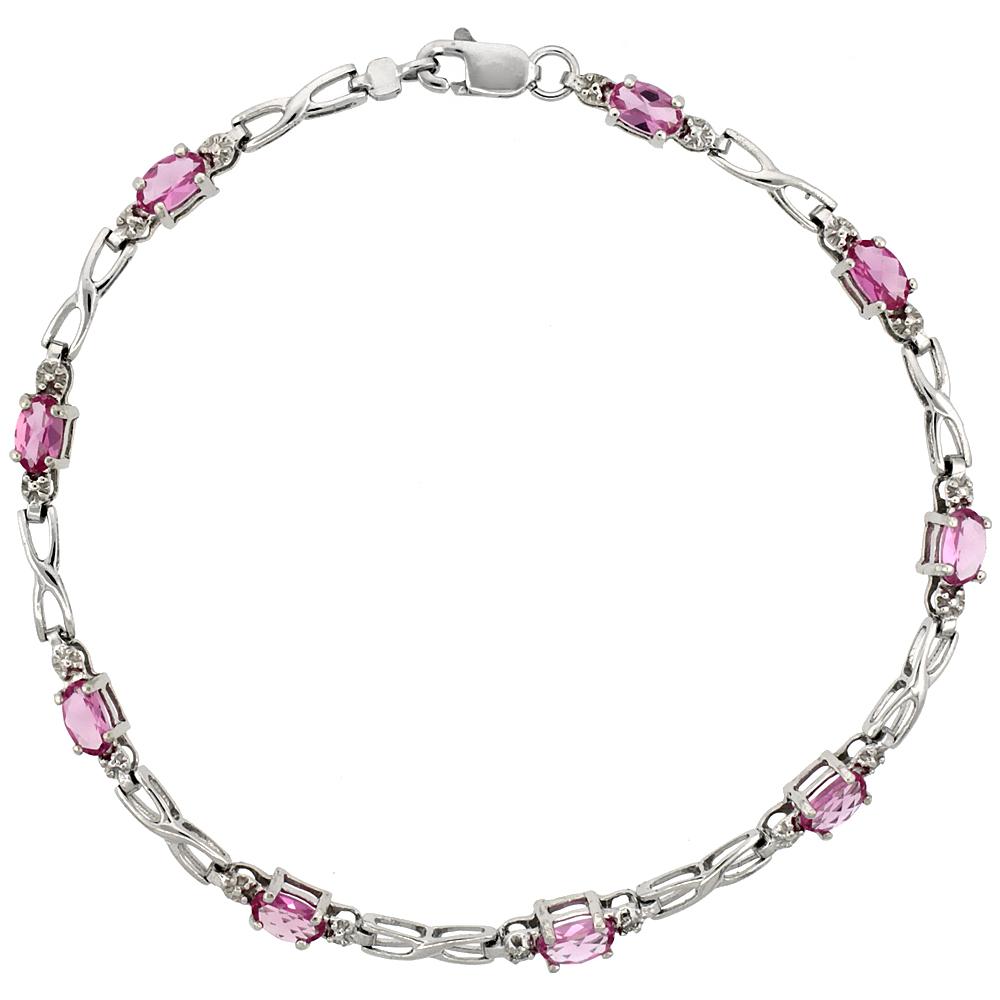 10k White Gold XOXO Hugs & Kisses Tennis Bracelet 0.05 ct Diamonds & 2.25 ct Oval Pink Topaz, 1/8 inch wide