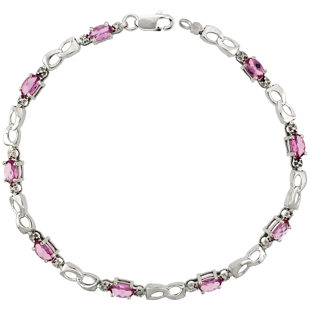 10k White Gold Double Loop Tennis Bracelet 0.05 ct Diamonds & 2.25 ct Oval Pink Topaz, 1/8 inch wide
