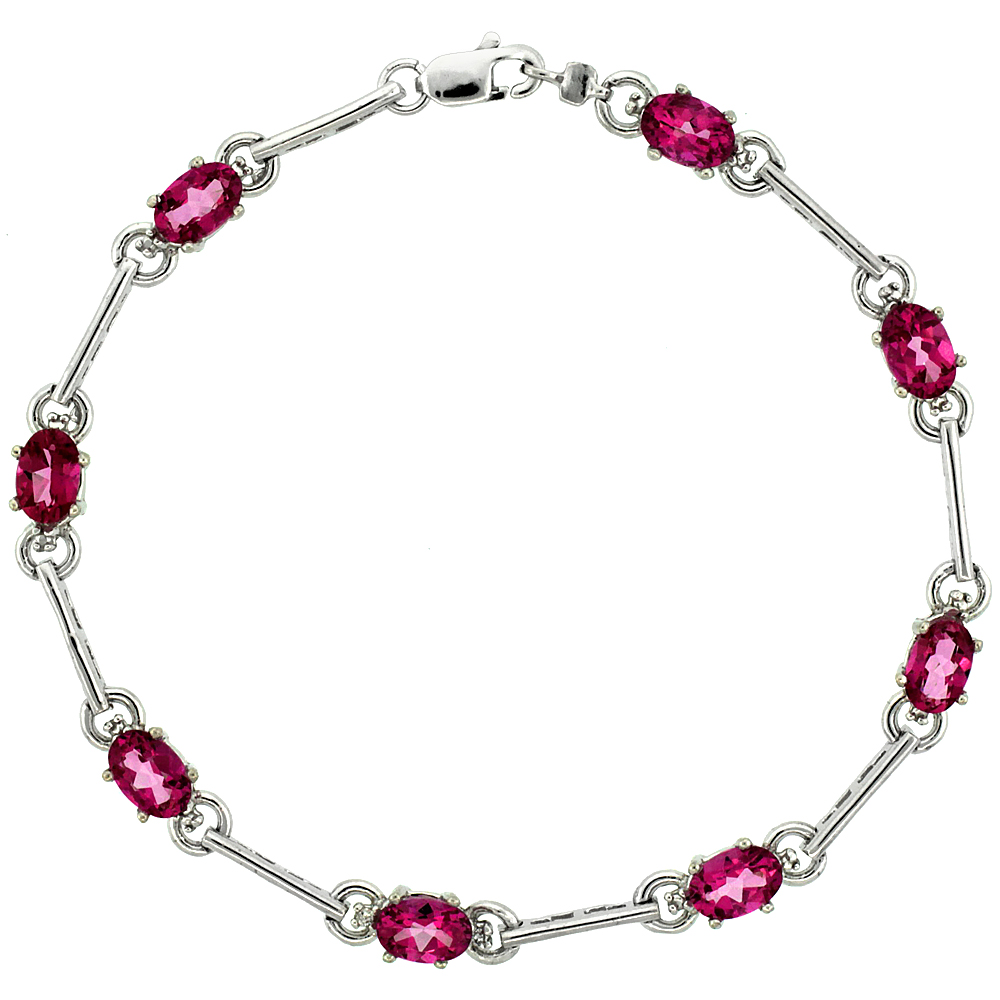 10k White Gold Dash Bar Tennis Bracelet 0.05 ct Diamonds & 4.0 ct Oval Pink Topaz, 3/16 inch wide