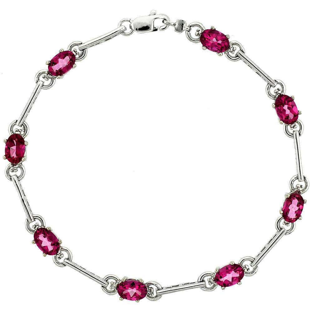 10k White Gold Dash Bar Tennis Bracelet 0.05 ct Diamonds & 4.0 ct Oval Pink Topaz, 3/16 inch wide