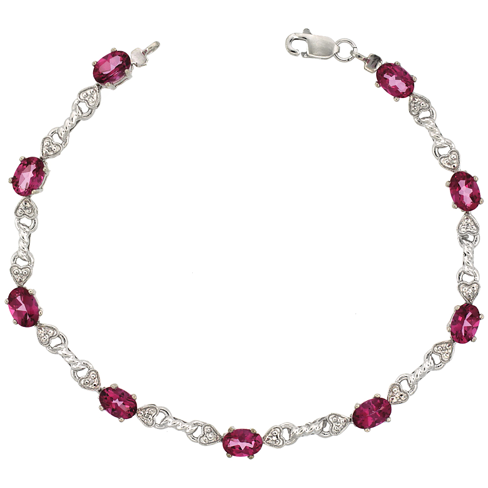 10k White Gold Braided Heart Tennis Bracelet 0.05 ct Diamonds & 4.50 ct Oval Pink Topaz, 3/16 inch wide