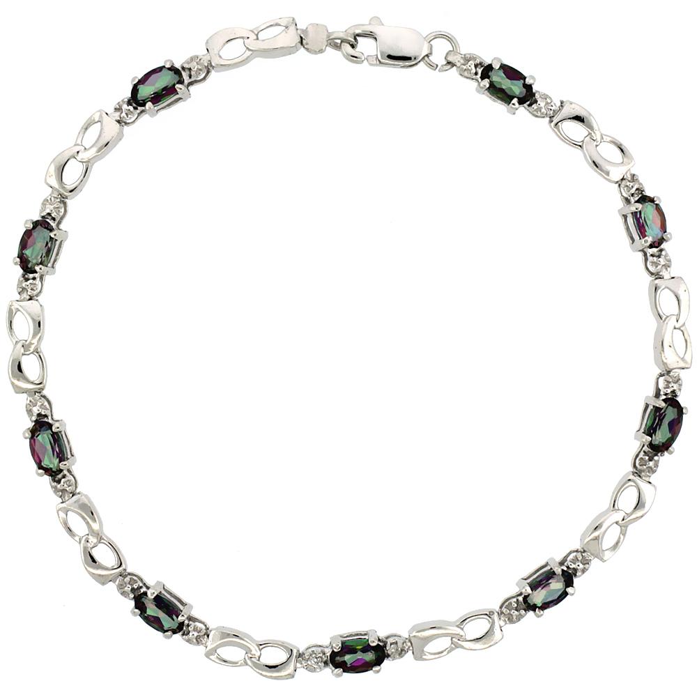 10k White Gold Double Loop Tennis Bracelet 0.05 ct Diamonds & 2.25 ct Oval Mystic Topaz, 1/8 inch wide