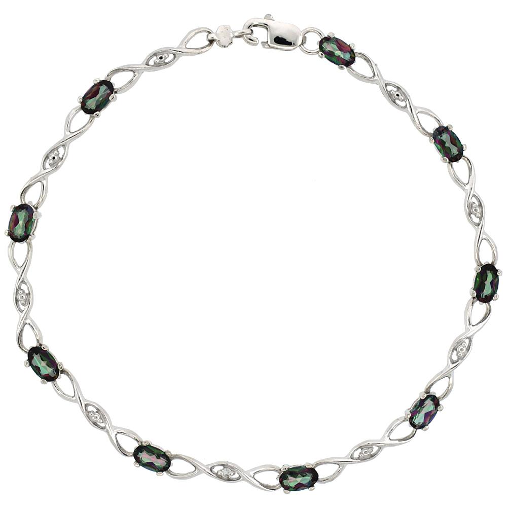 10k White Gold Braided Loop Tennis Bracelet 0.05 ct Diamonds & 2.25 ct Oval Mystic Topaz, 1/8 inch wide