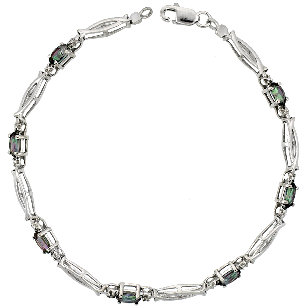 10k White Gold Christian Fish Tennis Bracelet 0.05 ct Diamonds & 1.75 ct Oval Mystic Topaz, 1/8 inch wide