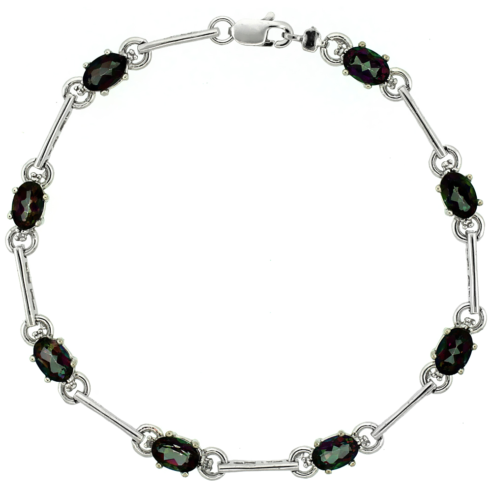10k White Gold Dash Bar Tennis Bracelet 0.05 ct Diamonds & 4.0 ct Oval Mystic Topaz, 3/16 inch wide