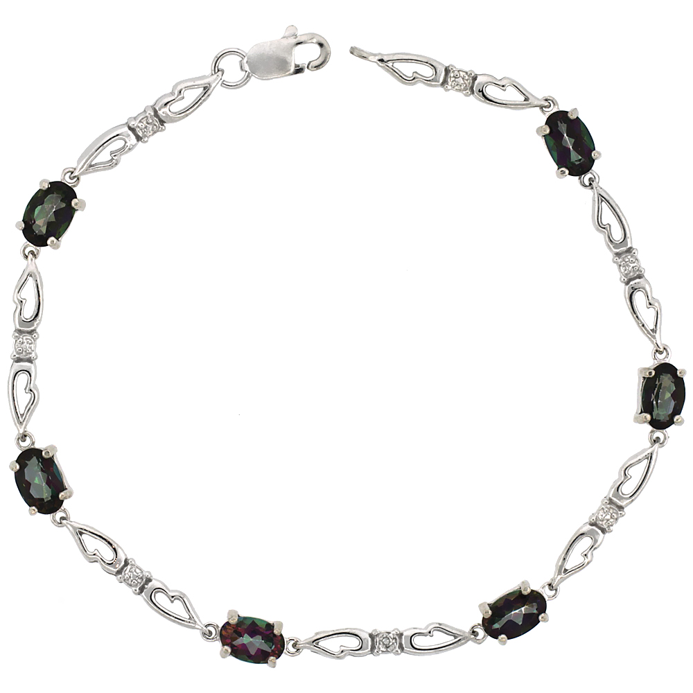 10k White Gold Double Fancy Heart Tennis Bracelet 0.05 ct Diamonds & 3.0 ct Oval Mystic Topaz, 3/16 inch wide