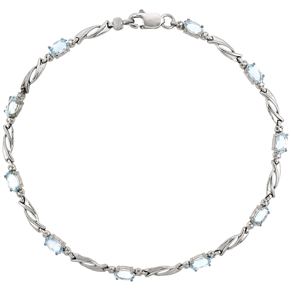 10k White Gold Swirl Tennis Bracelet 0.05 ct Diamonds & 2.50 ct Oval Aquamarine, 1/8 inch wide