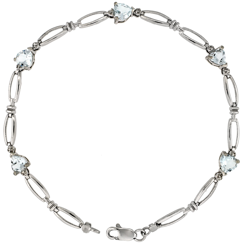 10k White Gold Heart Tennis Bracelet 0.05 ct Diamonds & 2.50 ct Heart Aquamarine, 3/16 inch wide
