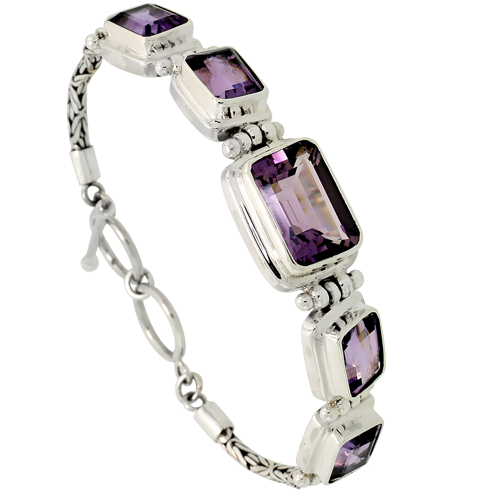 "Sterling Silver Bali Style Byzantine Toggle Bracelet, w/ 15x10mm & four 10x8mm Emerald Cut Natural Amethyst Stones, 1/2"" (13 mm)"