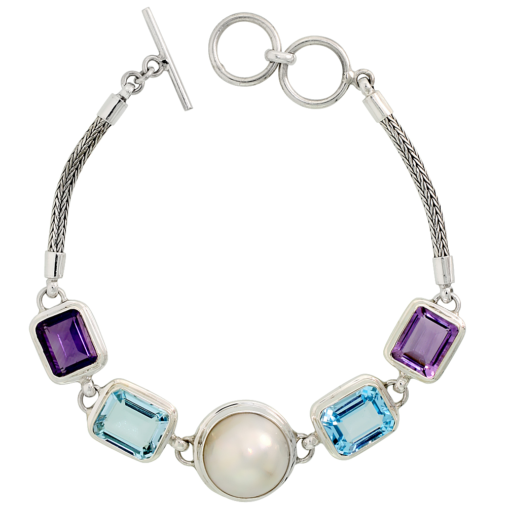 Sterling Silver Bali Style Byzantine Toggle Bracelet, w/ Pearl, two 12x10mm Emerald Cut Natural Blue Topaz Stones & two 11x9mm E