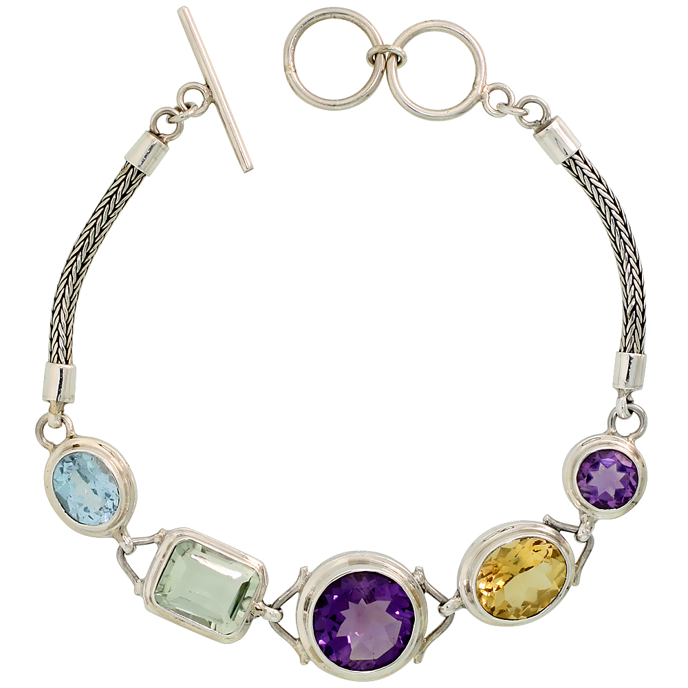 "Sterling Silver Bali Style Byzantine Toggle Bracelet, w/ 8mm & 13mm Brilliant Cut Amethyst, 12x10 Oval Cut Citrine, 11x9mm Emerald Cut Green Amethyst & 10x8mm Oval Cut Blue Topaz (ALL NATURAL STONES), 9/16"" (15 mm) wide"