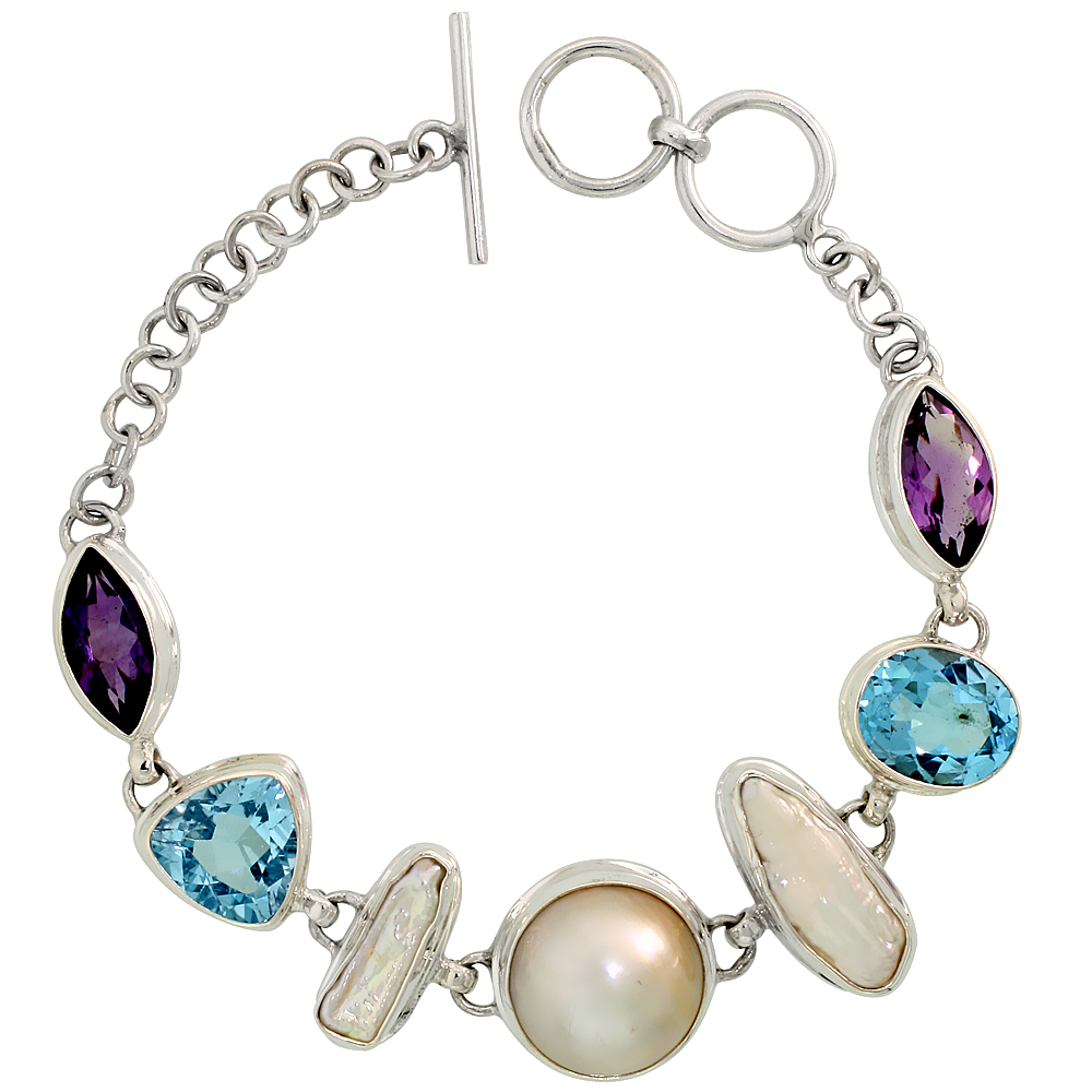 Sterling Silver Toggle Bracelet, w/ Pearl, Trillion Cut (12 mm) & Oval Cut 12x10mm Blue Topaz, & two 15x8mm Marquise Cut Amethys