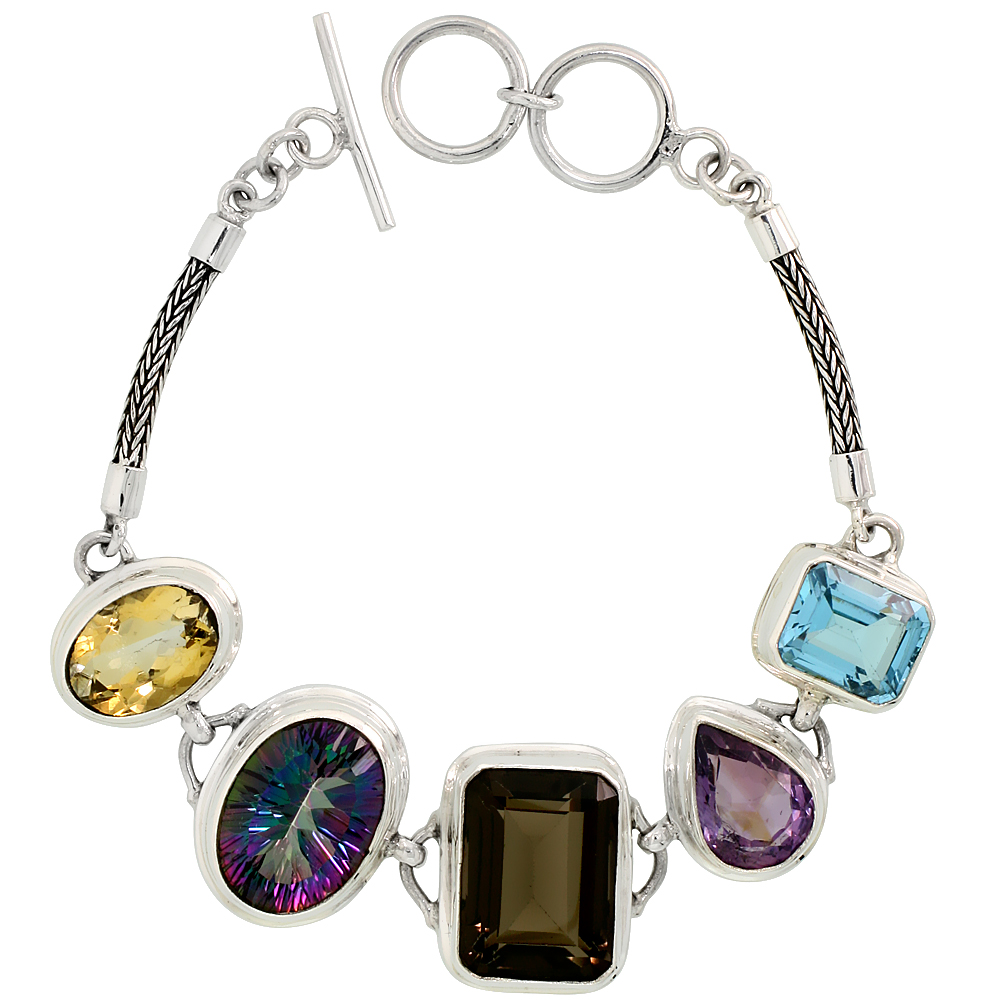 Sterling Silver Bali Style Byzantine Toggle Bracelet, w/ Emerald Cut 19x14mm Smoky Topaz, Oval Cut 19x14mm Mystic Topaz, Pear Cu