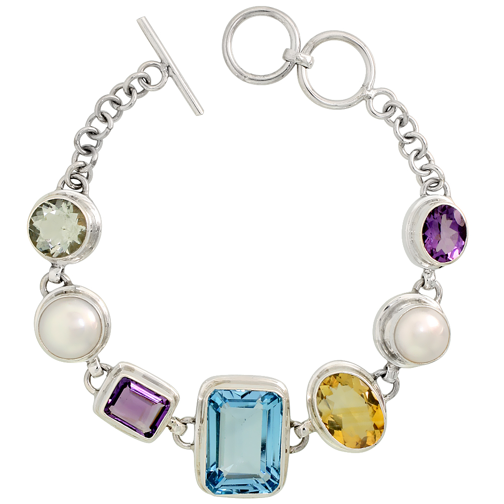Sterling Silver Toggle Bracelet, w/ White Pearls, Emerald Cut 19x14mm Blue Topaz, Emerald Cut 11x9mm & Oval Cut 11x9mm Amethyst,