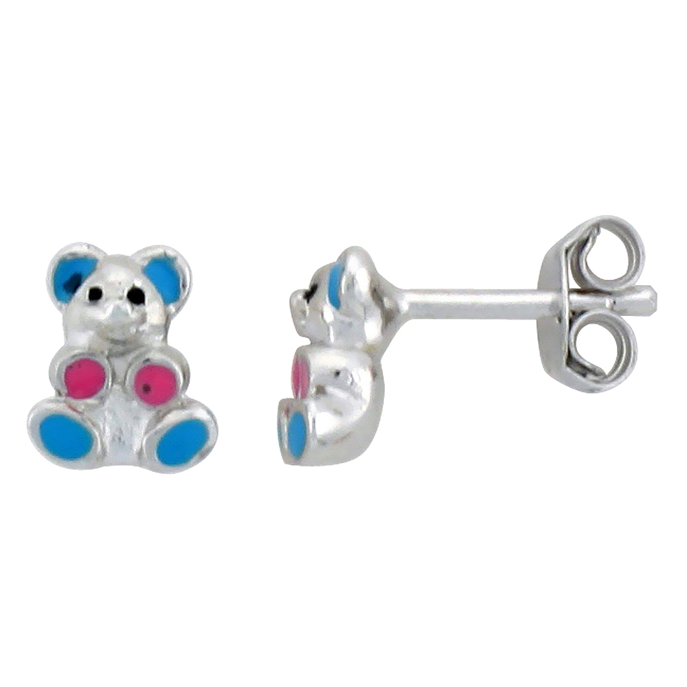 "Sterling Silver Child Size Teddy Bear Earrings, w/ Blue & Pink Enamel Design, 1/4"" (7 mm) tall"
