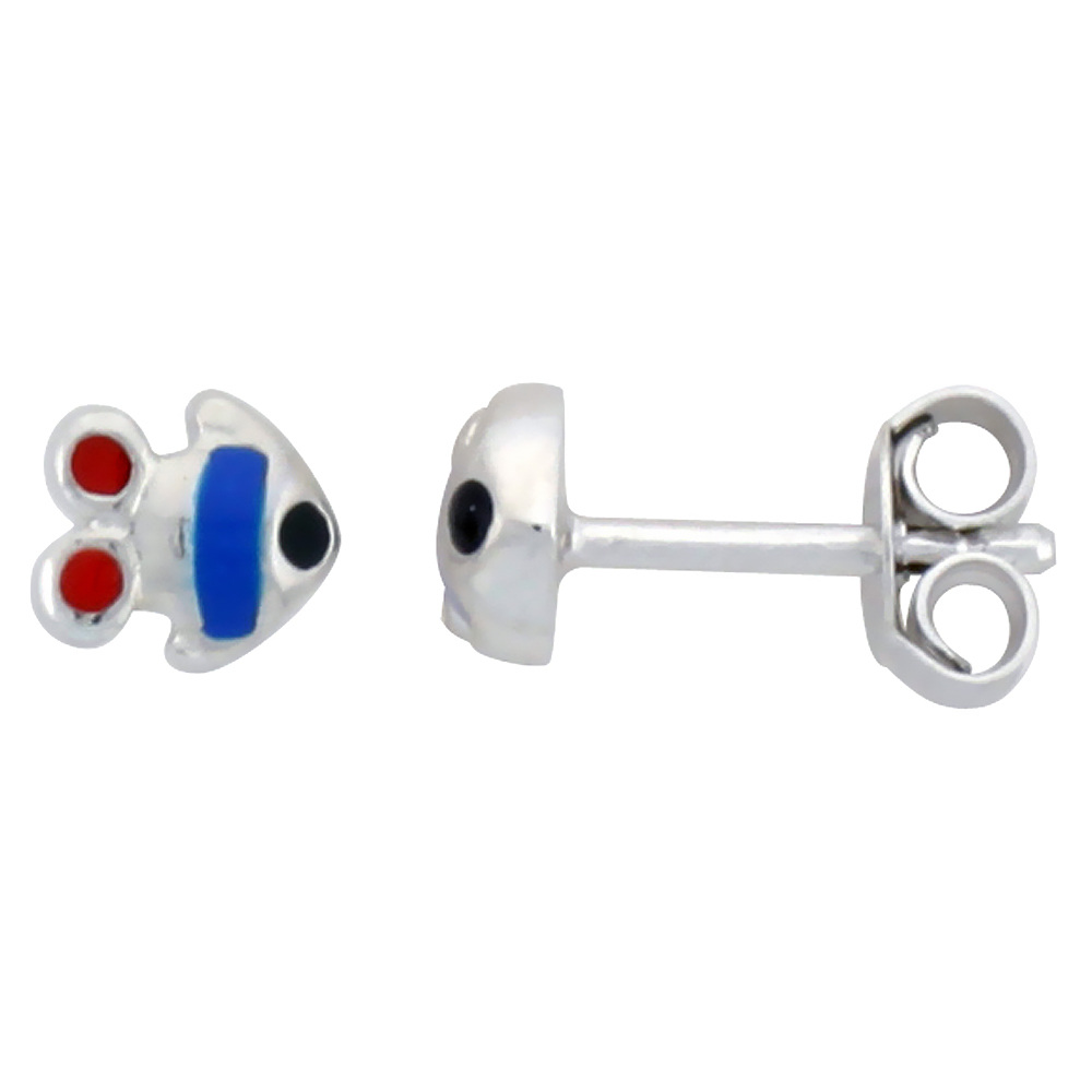"Sterling Silver Child Size Fish Earrings, w/ Blue & Red Enamel Design, 3/16"" (5 mm) tall"