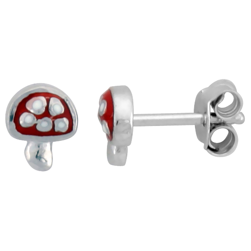 "Sterling Silver Child Size Mushroom Earrings, w/ Red Enamel Design, 1/4"" (6 mm) tall"