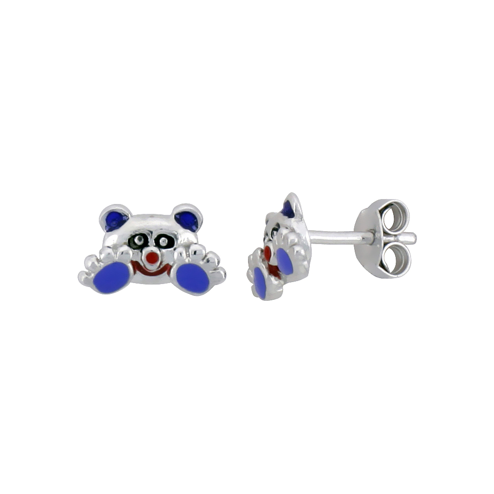 "Sterling Silver Child Size Panda Bear Earrings, w/ Black, Lavender & Red Enamel Design, 1/4"" (6 mm) tall"