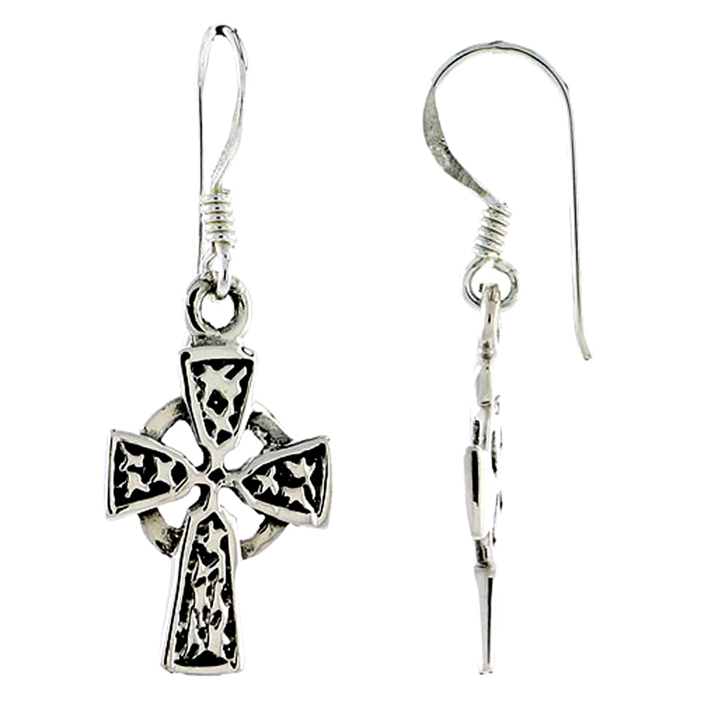 Sterling Silver Celtic Cross Earrings,1 1/4 inch long