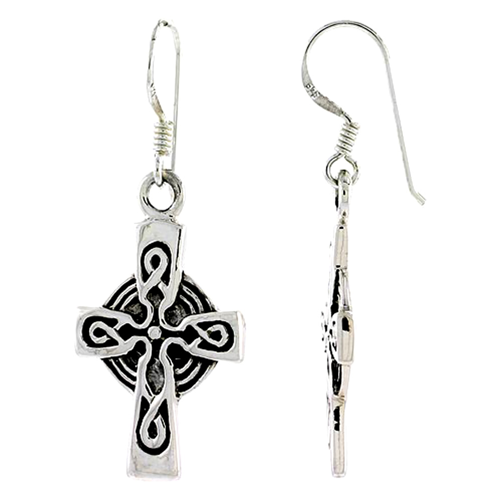 Sterling Silver Celtic Cross Earrings with Knot Patern,1 inch long