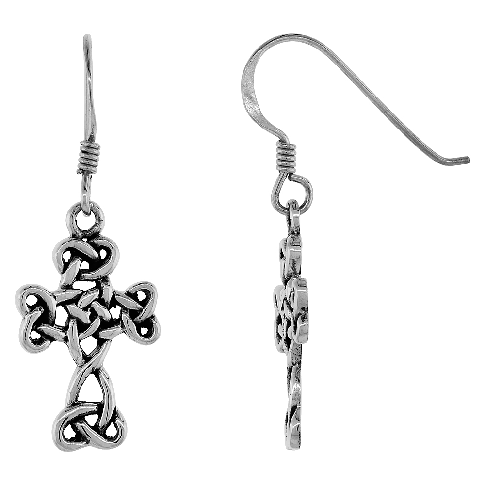 Sterling Silver Celtic Cross of Triquetras Earrings, 7/8 inch long