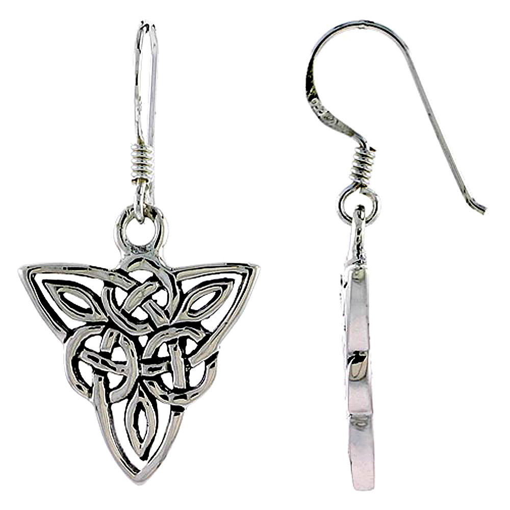 Sterling Silver Celtic Triquetra Trinity Knot Earrings, 3/4 inch long
