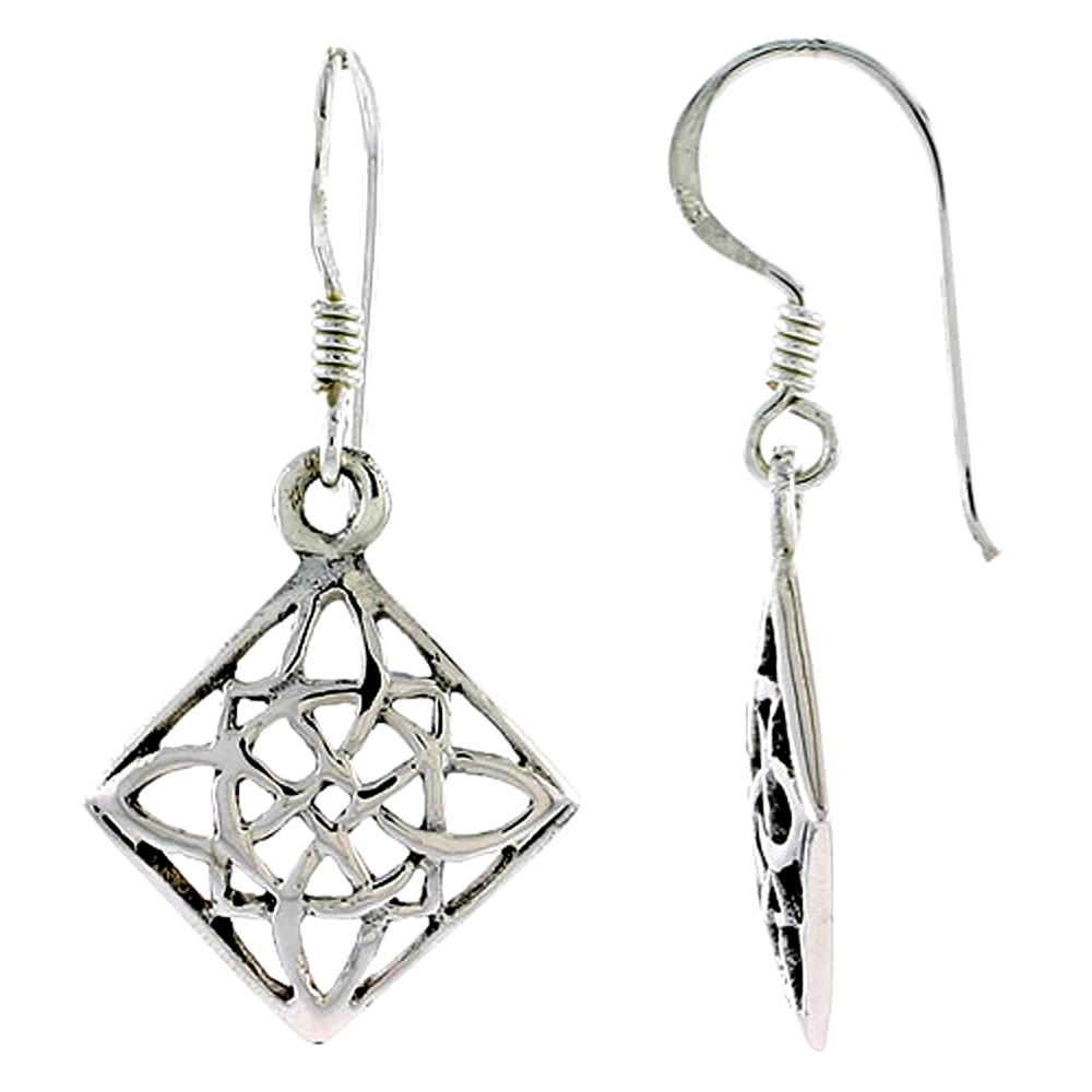 Sterling Silver Celtic Earrings, 3/4 inch long